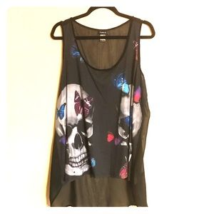 Torrid size 1 skull, sheer back, sleeveless top